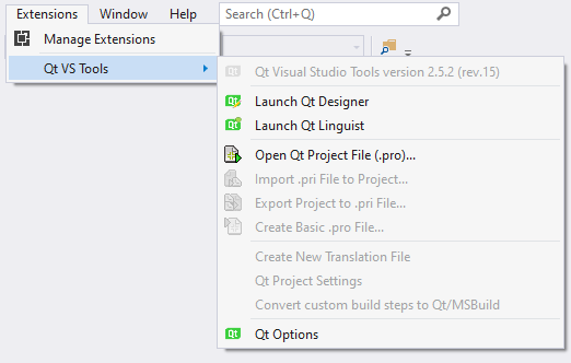 Qt Visual Studio Tools menu