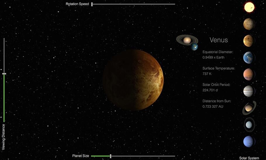 Canvas3D Planets example, implemented with three.js and Qt Canvas3D