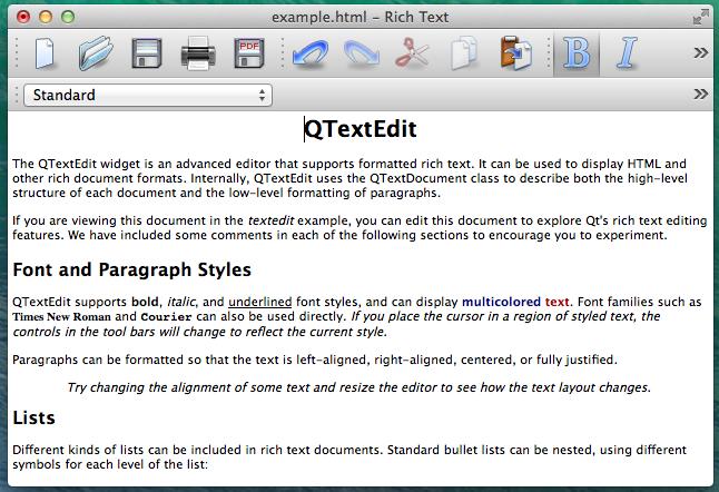 Screenshot of TextEditor example