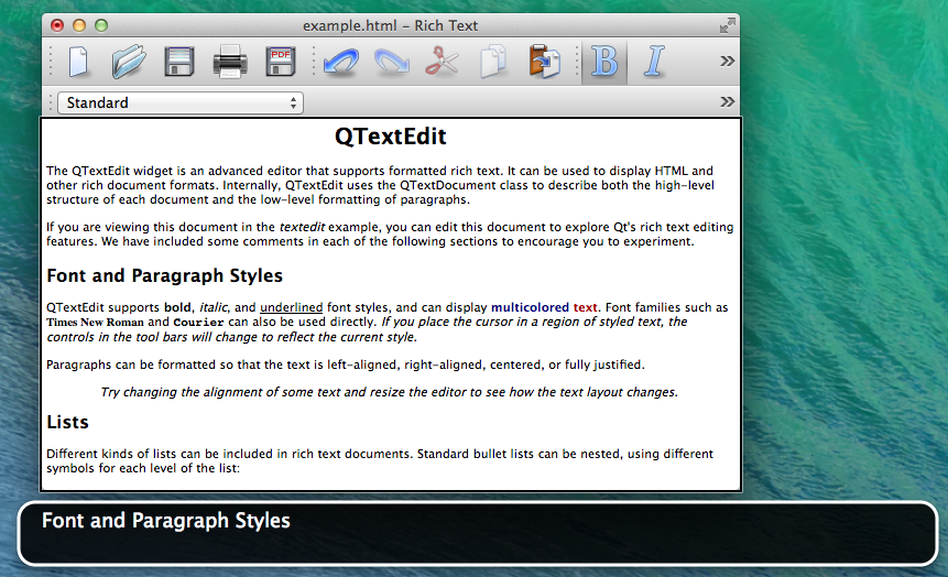 Screenshot of TextEditor example with VoiceOver running