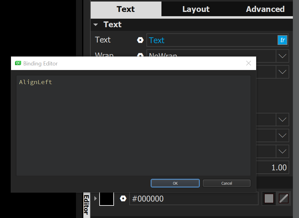 The binding editor is now based on the code editor