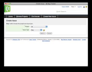 "Screenshot of ""Create Issue - Qt Bug Tracker"""