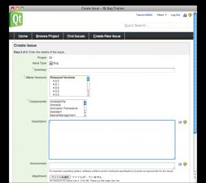 "Screenshot of ""Create Issue(details) - Qt Bug Tracker"""