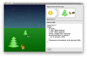 toys プロジェクト: dynamicscene.qml (アイテムを配置)