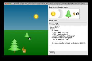 toys プロジェクト: dynamicscene.qml (太陽を配置)