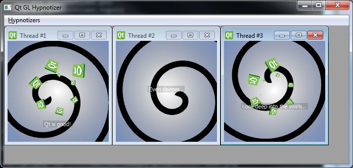 Qt 4.8のdemos/glhypnotizerのスクリーンショット