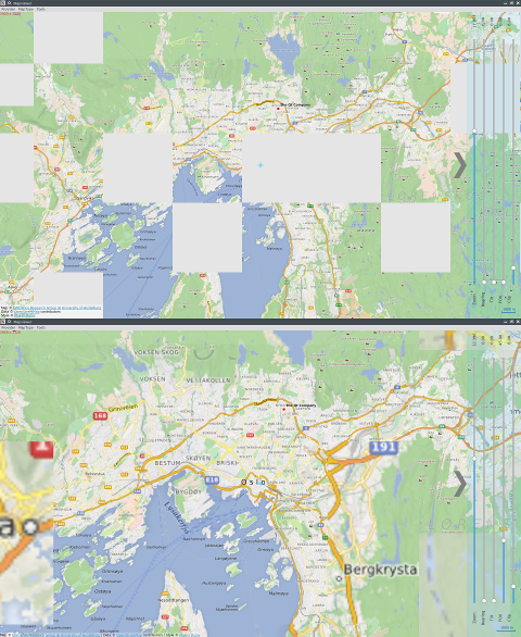 The difference in loading the map tiles, 5.8 (top) vs 5.9 (bottom)