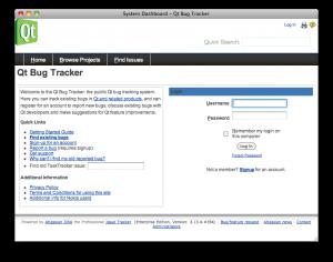 """Screenshot of """"Qt Bug Tracker"""""""
