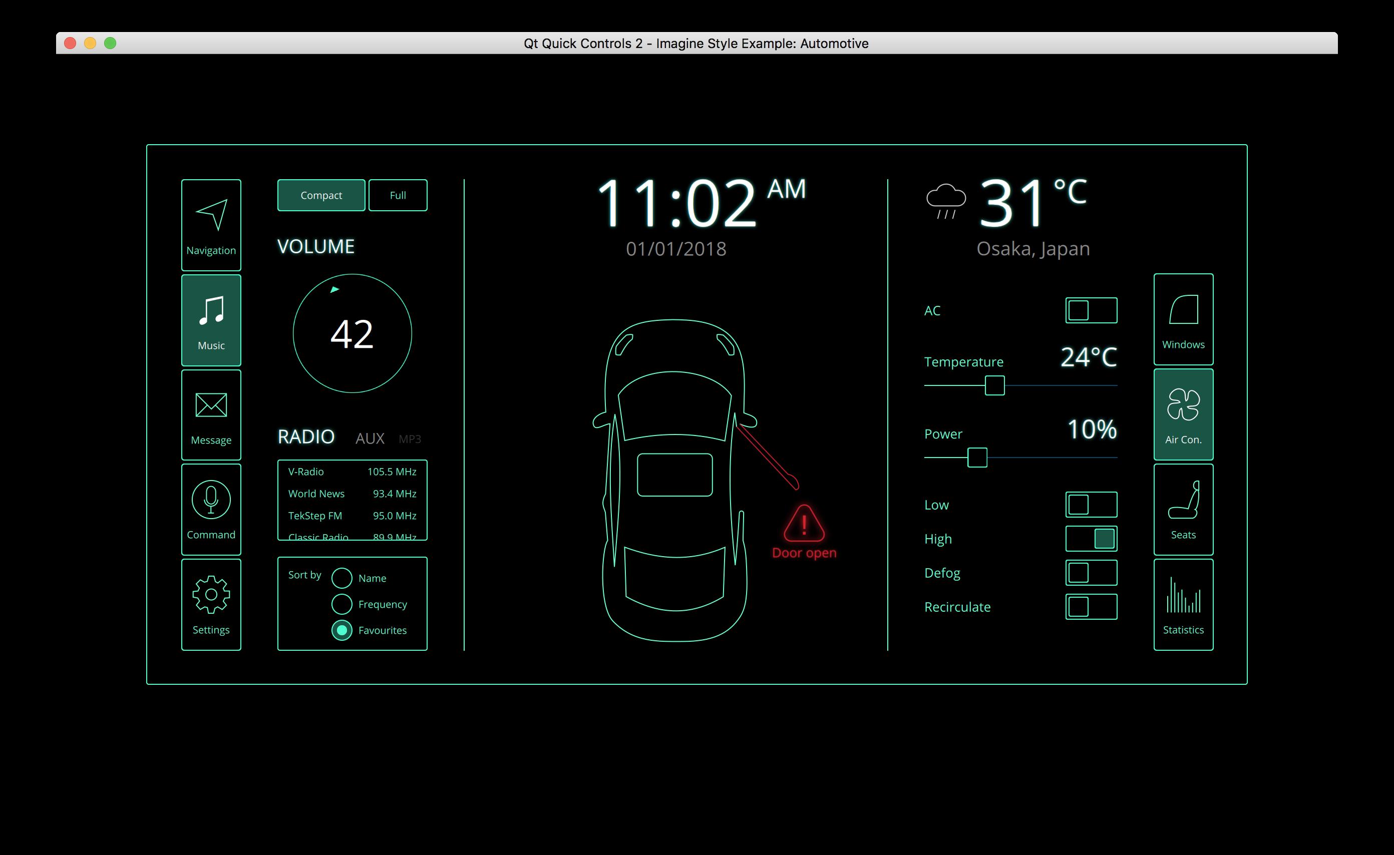 Qt Quick Controls 2 - Imagine Style Example: Automotive