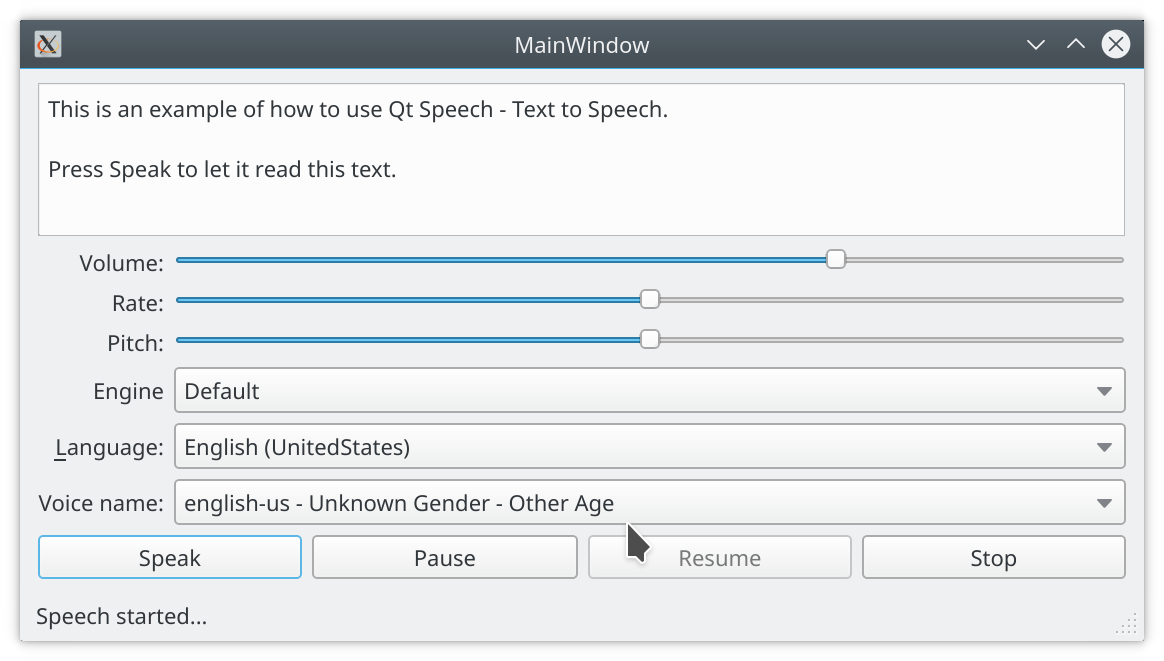 Example application show Qt Text to Speech