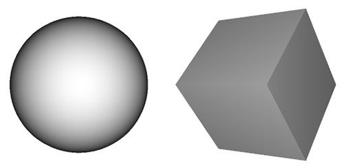 Sphere and cube without any texture map.
