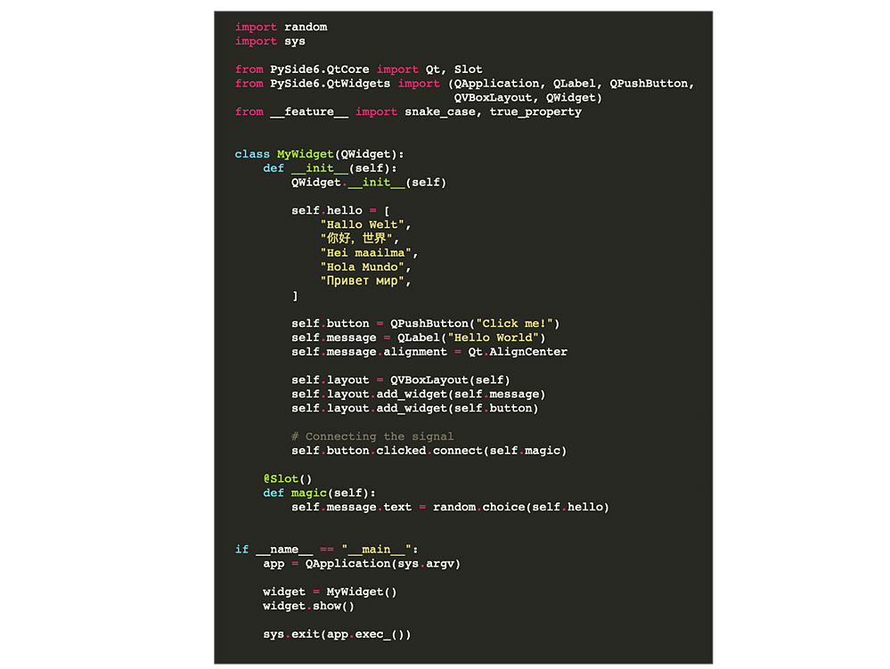 Qt for Python Code Example 2-1