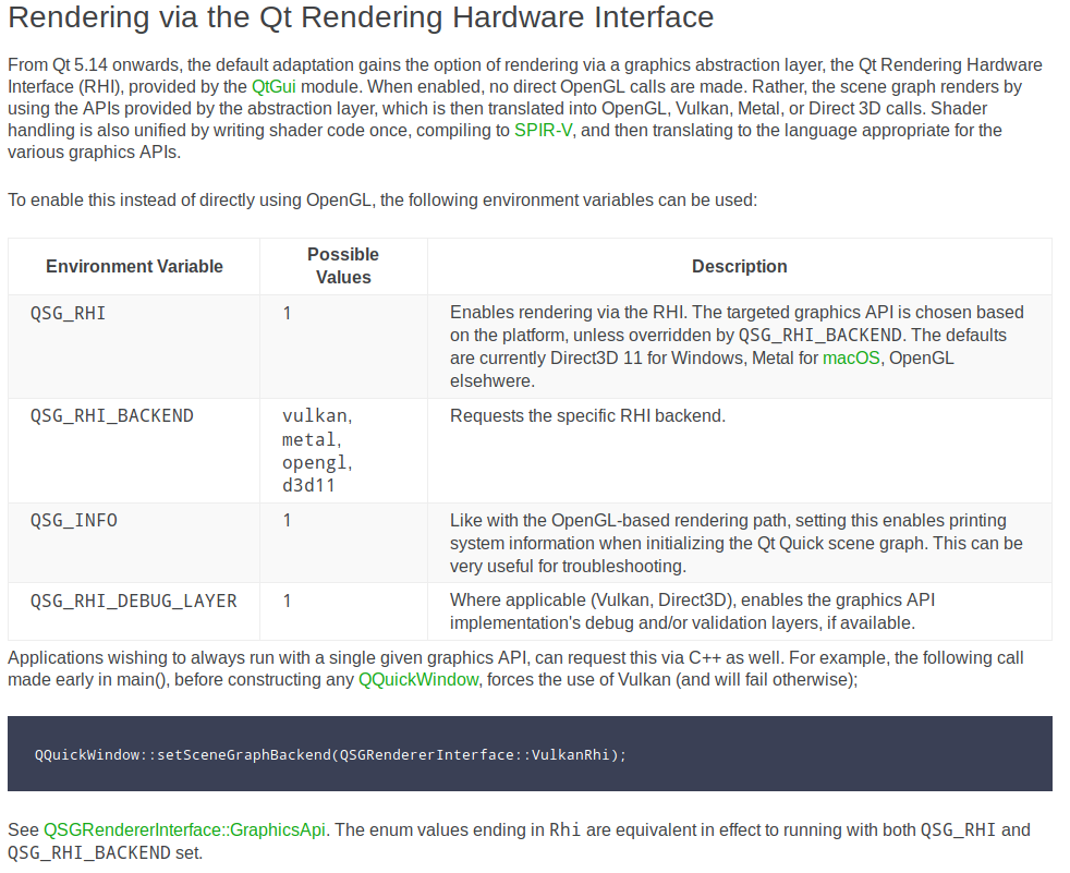 Qt 5.14 doc screenshot for enabling RHI-based rendering in Qt Quick.