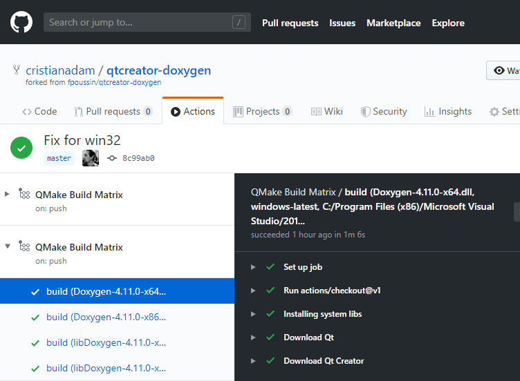 Building Qt Creator plugins with GitHub Actions