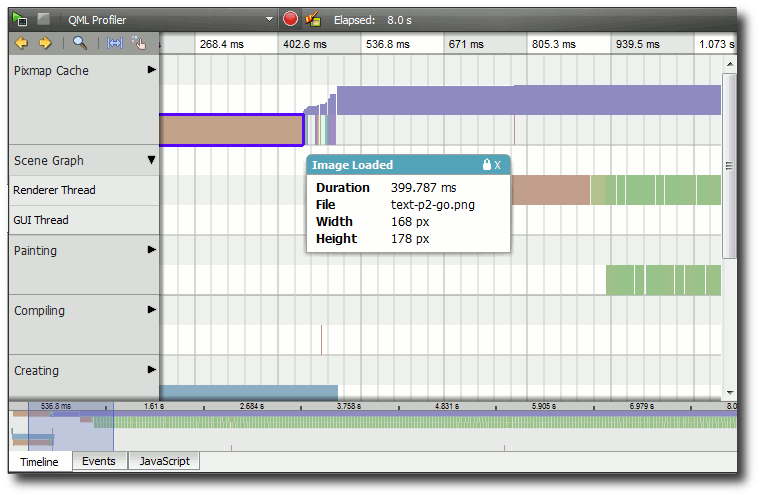 The QML Profiler in action