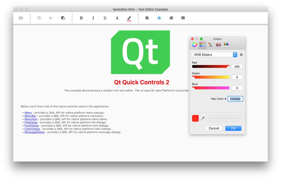 Qt Quick Controls 2 - Text Editor example (Desktop UI)