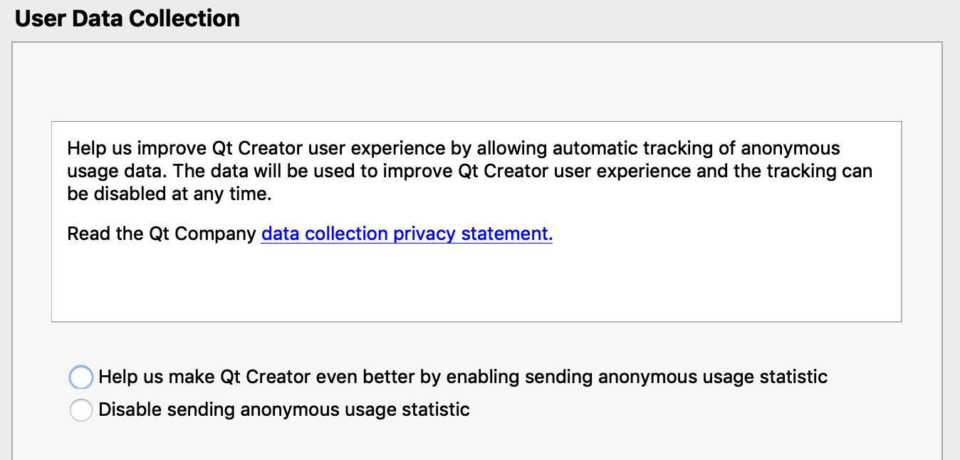 Option to provide anonymous usage statistics enabled