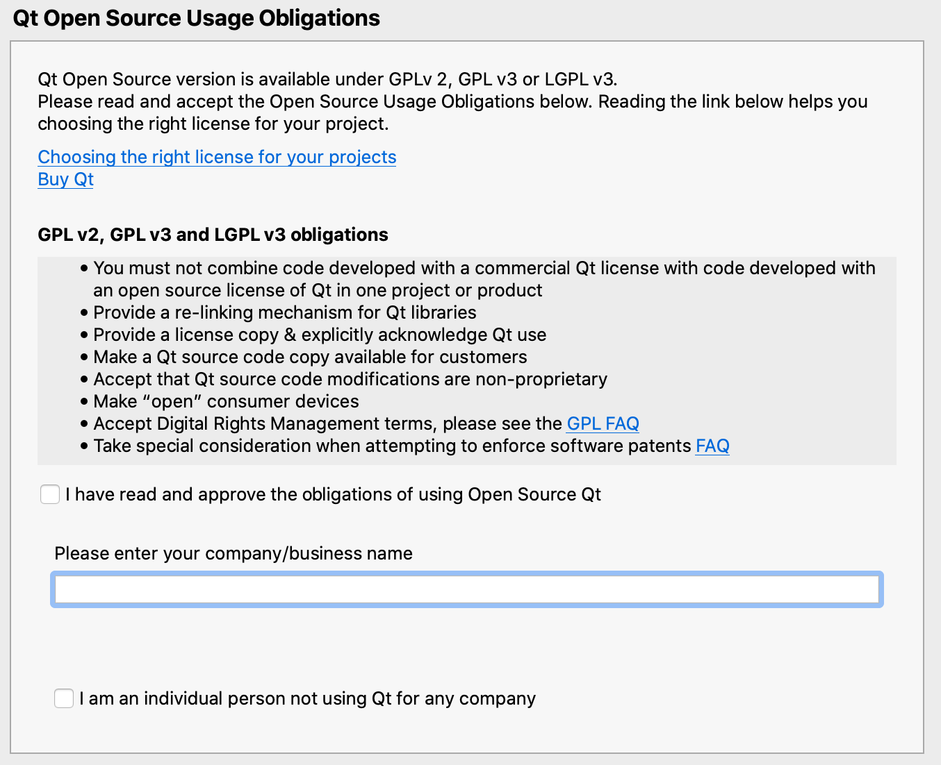 Qt Open Source obligations page in the installer